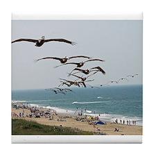 Pelican Bird Gang over OBX Tile Coaster