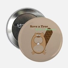 Save a Tree-Brown Button
