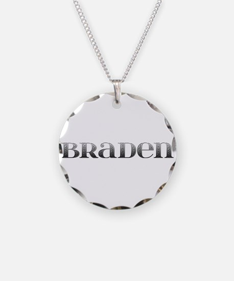 Braden Carved Metal Necklace Circle Charm