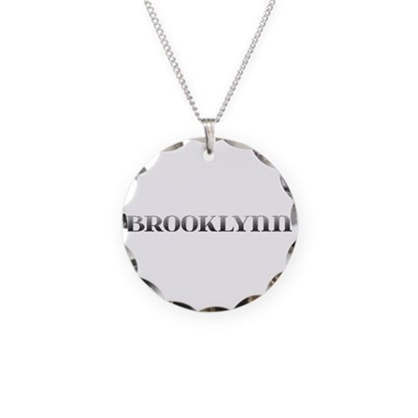 Brooklynn Carved Metal Necklace Circle Charm