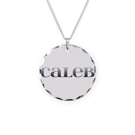 Caleb Carved Metal Necklace Circle Charm