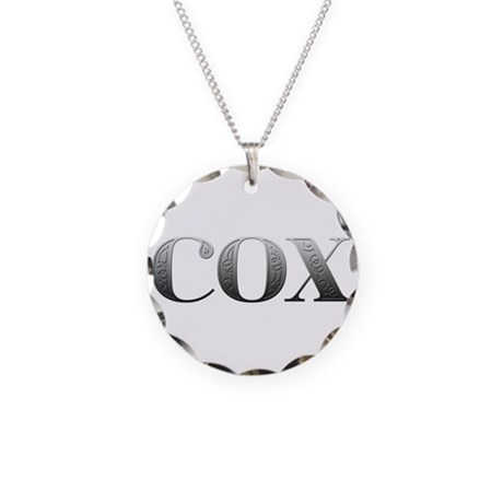 Cox Carved Metal Necklace Circle Charm