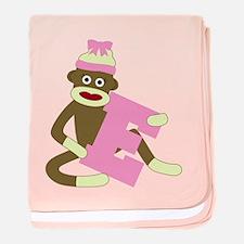 Sock Monkey Monogram Girl E baby blanket