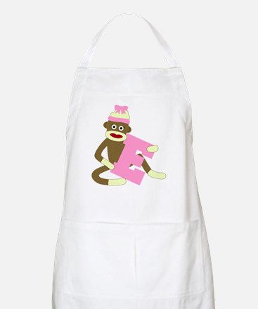 Sock Monkey Monogram Girl E Apron
