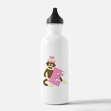 Sock Monkey Monogram Girl E Water Bottle