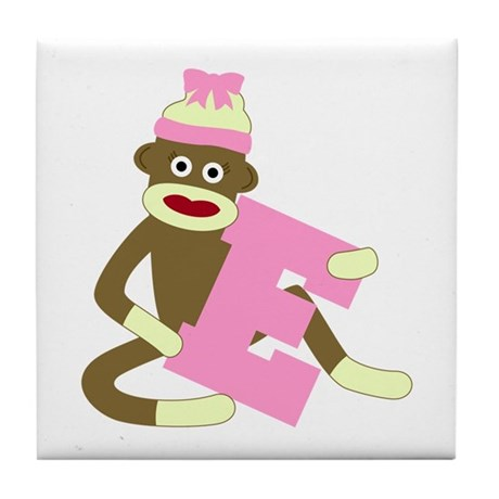 Sock Monkey Monogram Girl E Tile Coaster