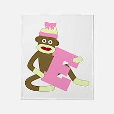 Sock Monkey Monogram Girl E Throw Blanket