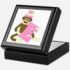 Sock Monkey Monogram Girl E Keepsake Box