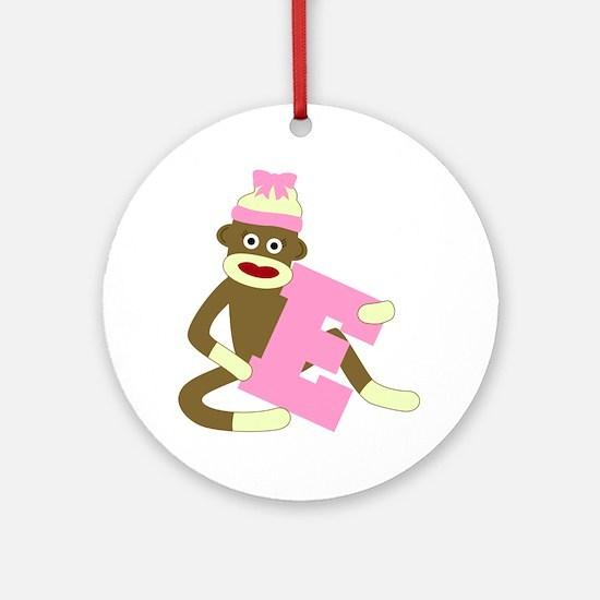 Sock Monkey Monogram Girl E Ornament (Round)