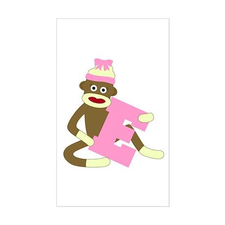 Sock Monkey Monogram Girl E Sticker (Rectangle)