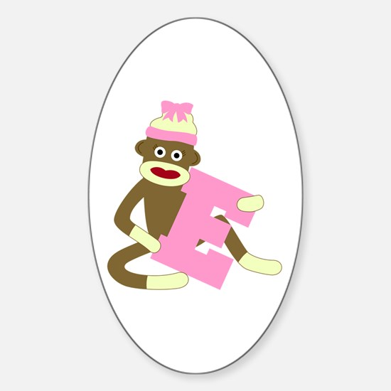 Sock Monkey Monogram Girl E Sticker (Oval)
