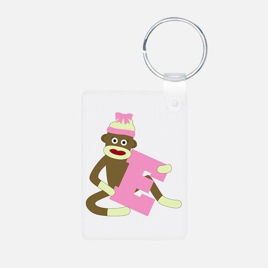 Sock Monkey Monogram Girl E Aluminum Keychain