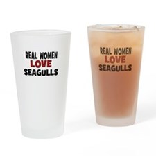 Real Women Love Seagulls Drinking Glass