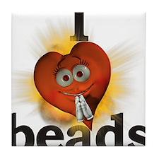 I <heart> beads Tile Coaster