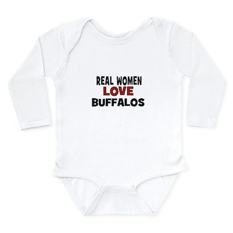 Real Women Love Buffalos Long Sleeve Infant Bodysu