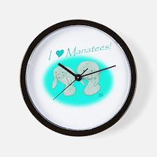 I Love Manatees Wall Clock