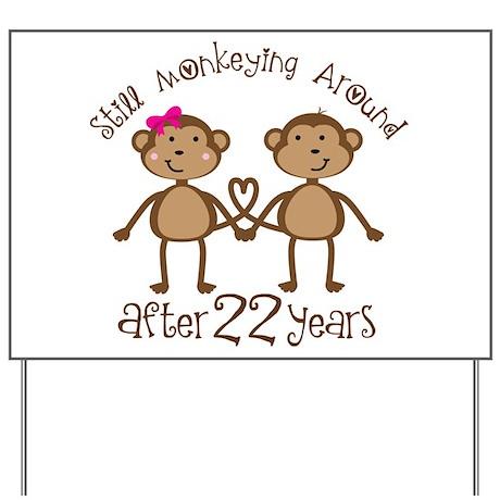 22nd Anniversary Love Monkeys Yard Sign