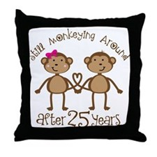 25th Anniversary Love Monkeys Throw Pillow