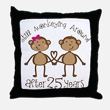 25th Anniversary Love Monkeys Throw Pillow