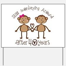 40th Anniversary Love Monkeys Yard Sign
