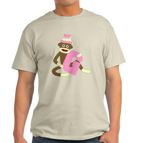 Sock Monkey Monogram Girl G Light T-Shirt