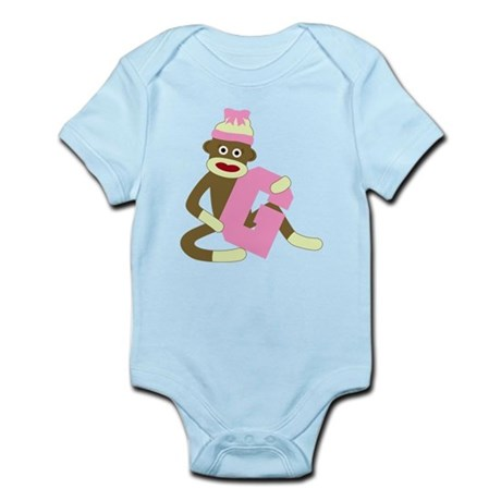 Sock Monkey Monogram Girl G Infant Bodysuit