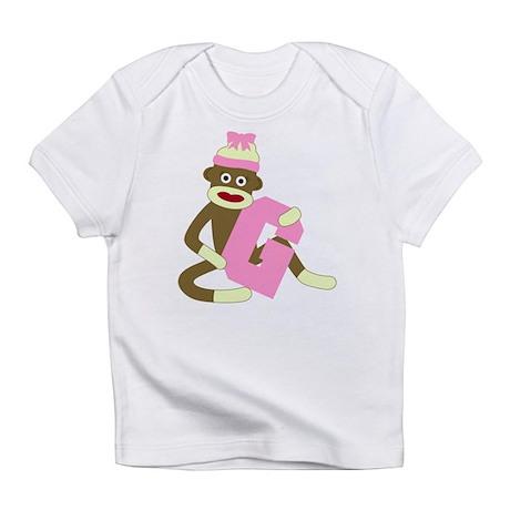 Sock Monkey Monogram Girl G Infant T-Shirt