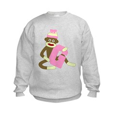 Sock Monkey Monogram Girl G Kids Sweatshirt