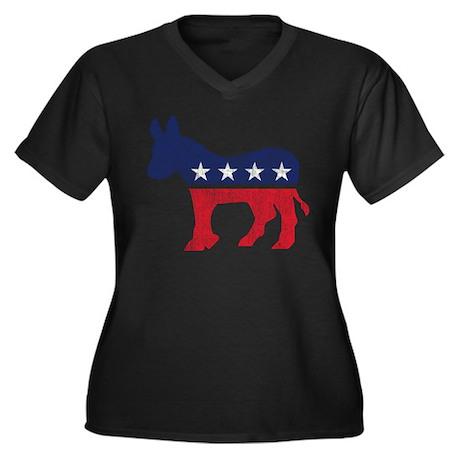 Democrat Donkey Women's Plus Size V-Neck Dark T-Sh