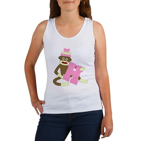 Sock Monkey Monogram Girl H Women's Tank Top