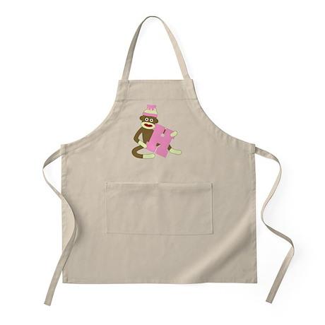 Sock Monkey Monogram Girl H Apron
