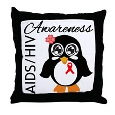 Penguin AIDS Awareness Throw Pillow