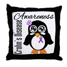 Penguin Crohn's Disease Throw Pillow