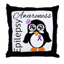 Penguin Epilepsy Awareness Throw Pillow