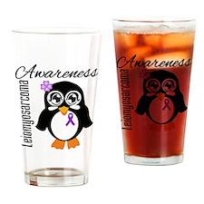 Penguin Cancer Awareness Drinking Glass