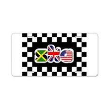 Cute Checkered flag Aluminum License Plate