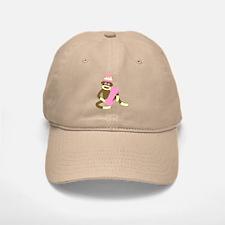 Sock Monkey Monogram Girl I Baseball Baseball Cap