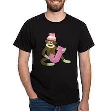 Sock Monkey Monogram Girl J T-Shirt