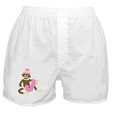 Sock Monkey Monogram Girl J Boxer Shorts