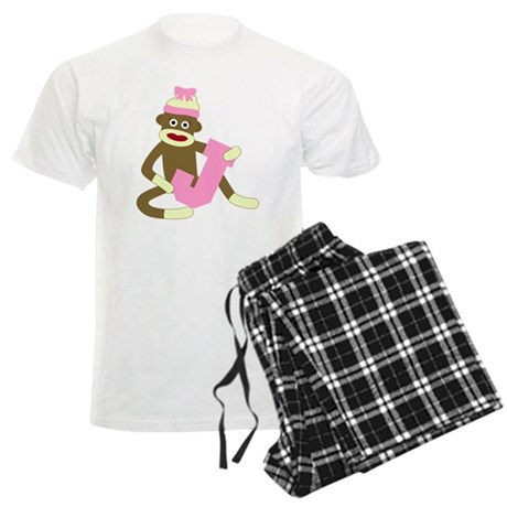 Sock Monkey Monogram Girl J Men's Light Pajamas