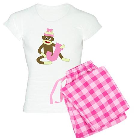 Sock Monkey Monogram Girl J Women's Light Pajamas