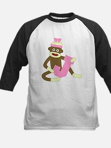 Sock Monkey Monogram Girl J Tee