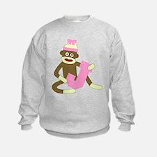 Sock Monkey Monogram Girl J Sweatshirt