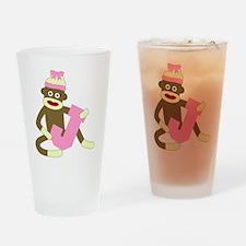 Sock Monkey Monogram Girl J Drinking Glass