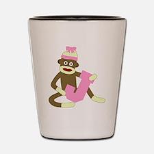 Sock Monkey Monogram Girl J Shot Glass
