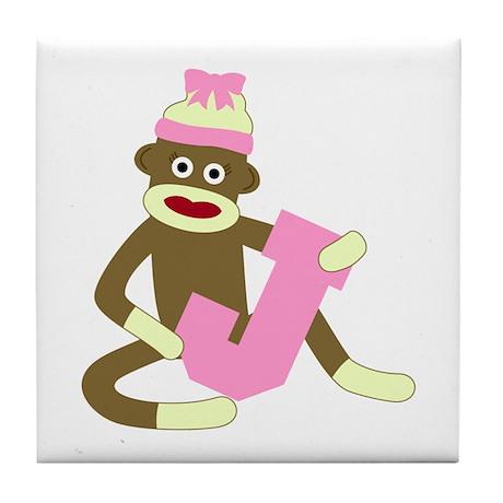 Sock Monkey Monogram Girl J Tile Coaster