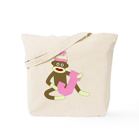 Sock Monkey Monogram Girl J Tote Bag