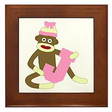 Sock Monkey Monogram Girl J Framed Tile