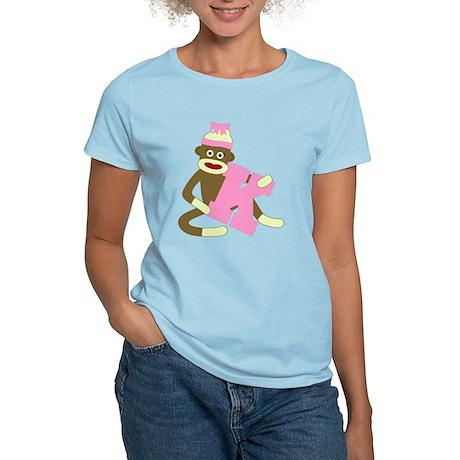 Sock Monkey Monogram Girl K Women's Light T-Shirt