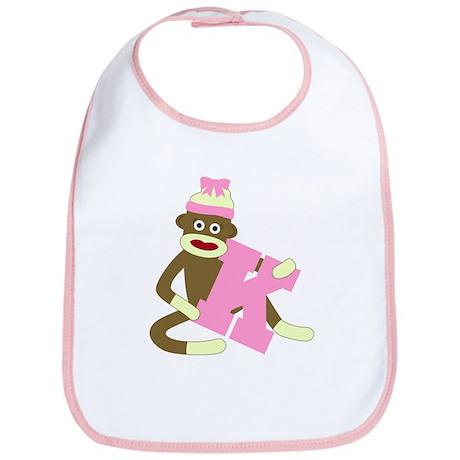 Sock Monkey Monogram Girl K Baby Bib